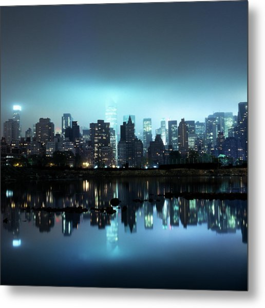 Manhattan Skyline At Nigh Metal Print