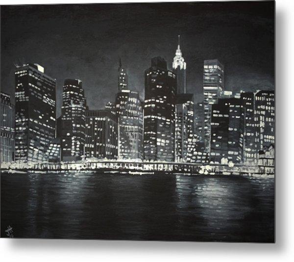 Metal Print featuring the painting Manhattan Skyline At Night by Jennifer Hotai