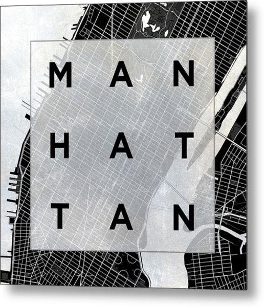Manhattan Square Bw Metal Print