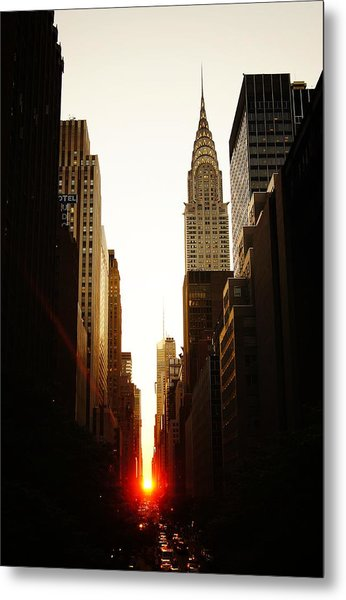 Manhattanhenge Sunset And The Chrysler Building  Metal Print