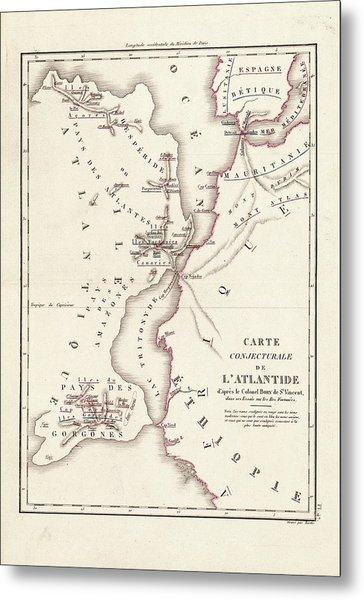 Map Of Atlantis Metal Print