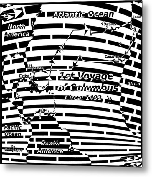Map Of First Colombus Voyage Maze Metal Print by Yonatan Frimer Maze Artist
