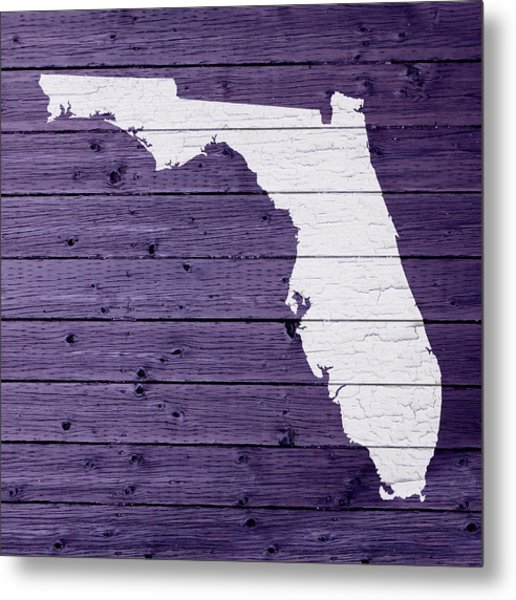 Map Of Florida State Outline White Distressed Paint On Reclaimed Wood Planks Metal Print