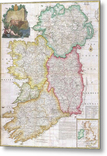 Map Of Ireland  1794 Metal Print by Pg Reproductions