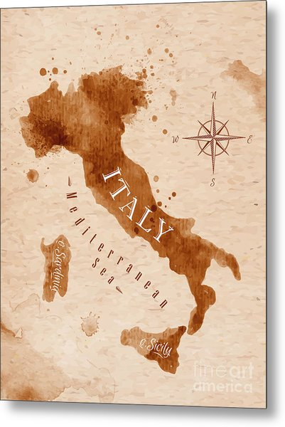 Map Of Italy In Old Style, Brown Metal Print