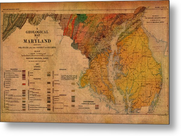 Map Of Maryland Geological 1897 Metal Print