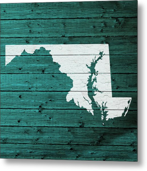 Map Of Maryland State Outline White Distressed Paint On Reclaimed Wood Planks Metal Print
