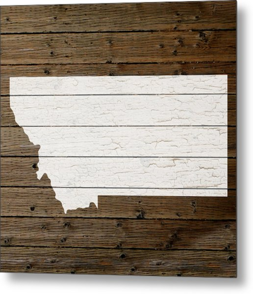 Map Of Montana State Outline White Distressed Paint On Reclaimed Wood Planks Metal Print