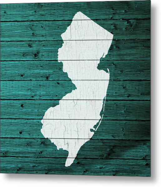 Map Of New Jersey State Outline White Distressed Paint On Reclaimed Wood Planks Metal Print