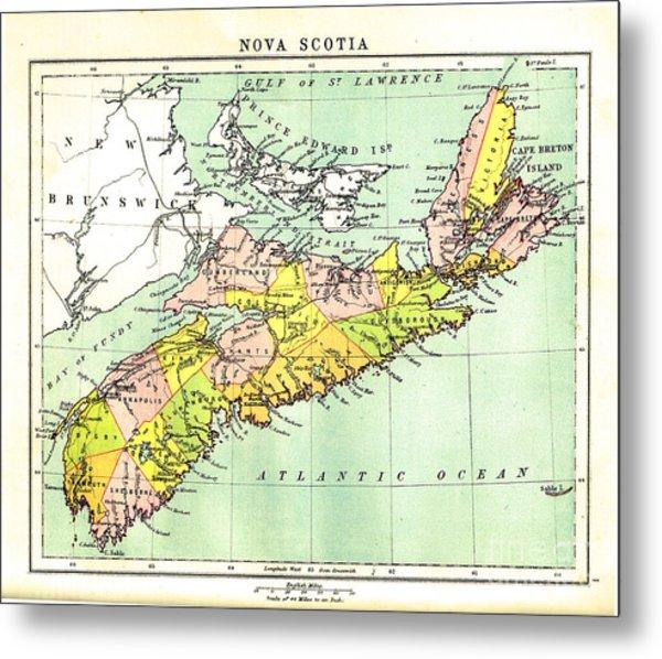 map of Nova Scotia - 1878 Metal Print