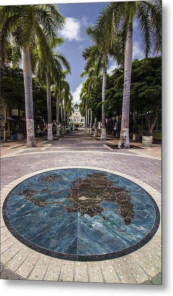 Map Of St. Maarten In The Boardwalk Metal Print