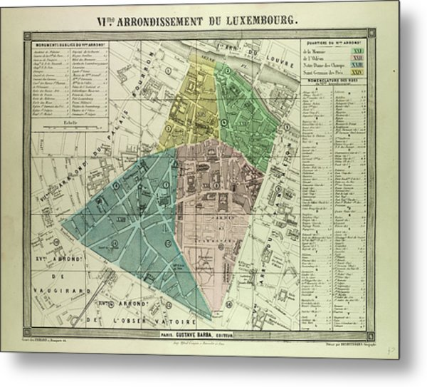 Map Of Paris France 6th Arrondissement.Map Of The 6th Arrondissement Du Luxembourg Paris France Drawing By