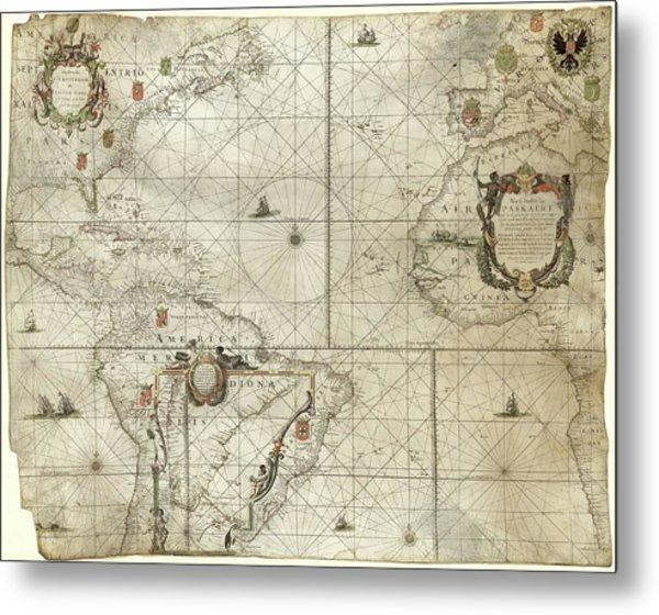 Map Of The Atlantic Coasts Metal Print