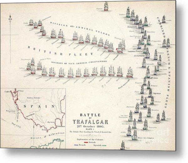 Map Of The Battle Of Trafalgar Metal Print