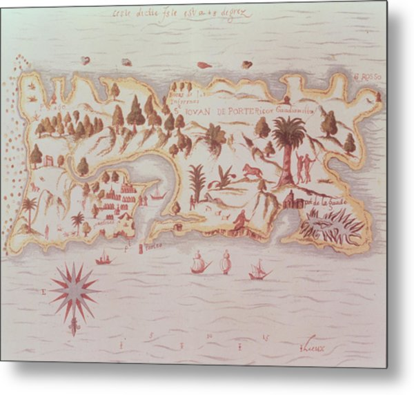 Map Of The Island Of Puerto Rico Metal Print
