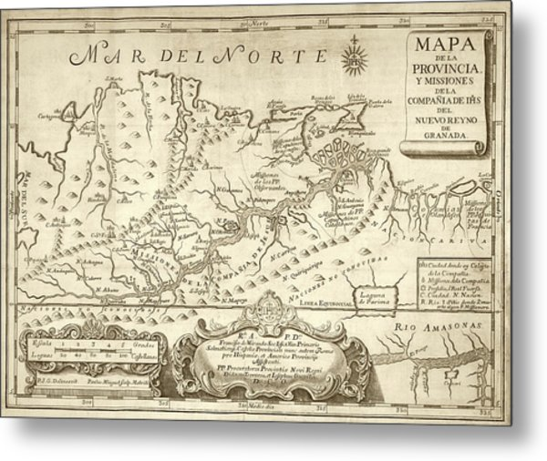 Map Of The Orinoco River Metal Print by Library Of Congress