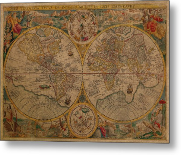 Map Of The World 1599 Vintage Ancient Map On Worn Parchment Metal Print
