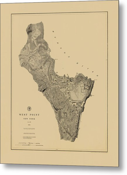 Map Of West Point 1883 Metal Print