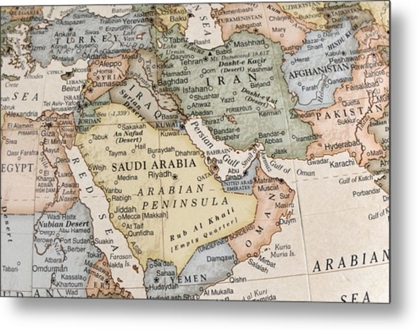 Maps Of Countries In Middle East Metal Print by KeithBinns