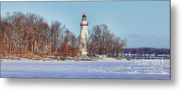 Marblehead Lighthouse In Winter Metal Print