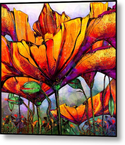 March Of The Poppies Metal Print