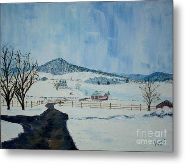 March Snow On Mole Hill - Sold Metal Print by Judith Espinoza