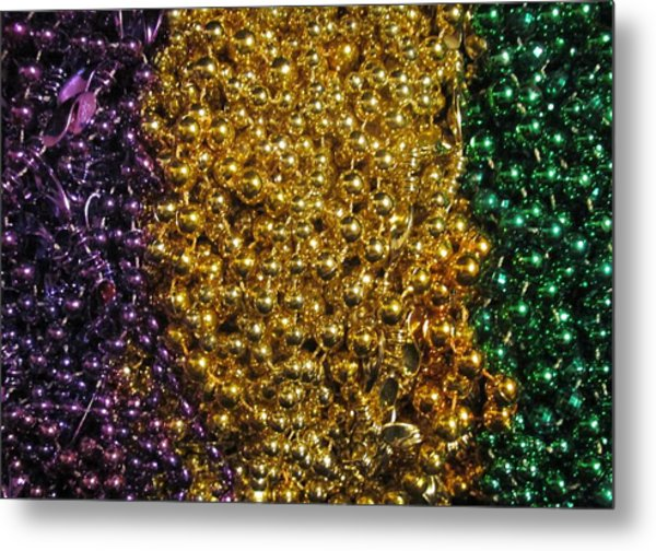 Mardi Gras Beads - New Orleans La Metal Print