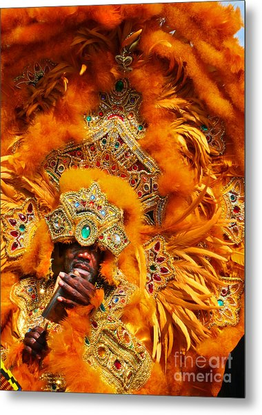 Mardi Gras Indian Orange Metal Print