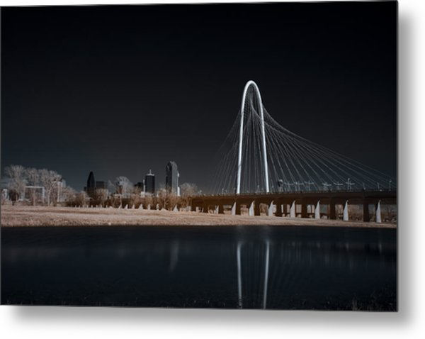 Margaret Hunt Hill Bridge And Dallas Skyline In Infrared Metal Print