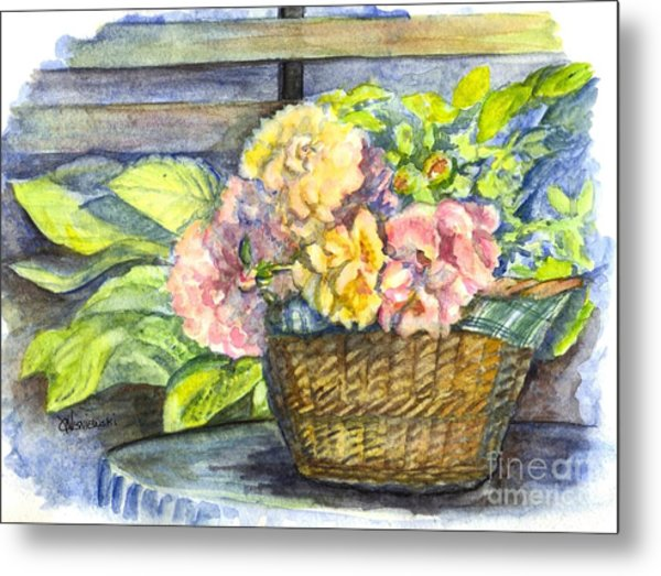 Marias Basket Of Peonies Metal Print