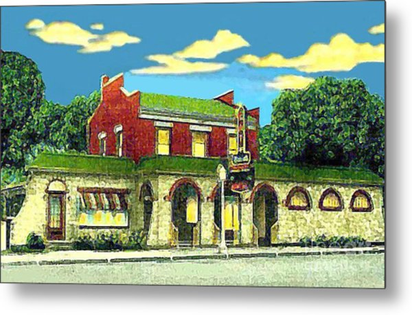 Marie's Bowling Alley Cafe And Bar In Sauk City Wi Around 1940 Metal Print by Dwight Goss