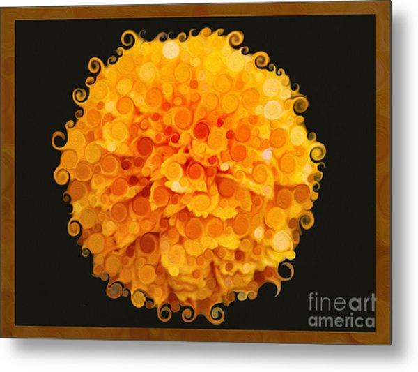 Marigold Magic Abstract Flower Art Metal Print