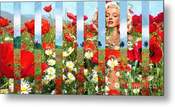 Marilyn In Poppies 1 Metal Print
