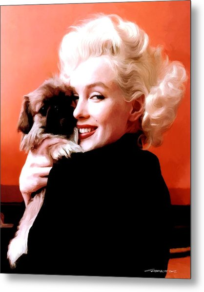 Marilyn Monroe And Pekingese Portrait Metal Print