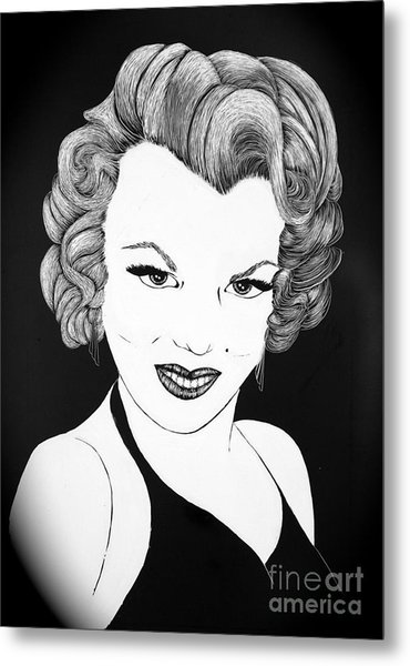 Marilyn Monroe- Scratch Bd Metal Print by Linda Simon