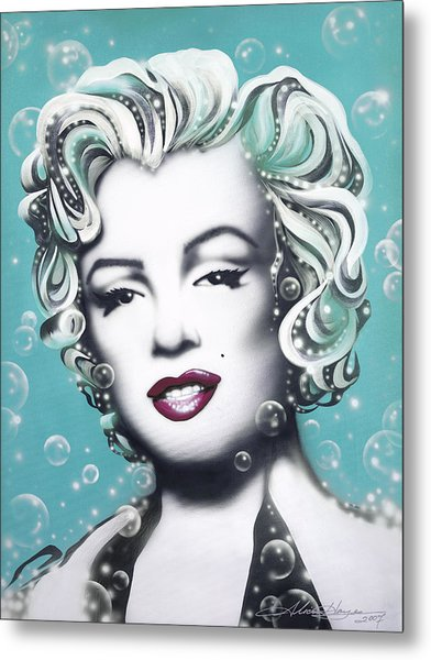 Marilyn Monroe Turquoise Metal Print by Alicia Hayes