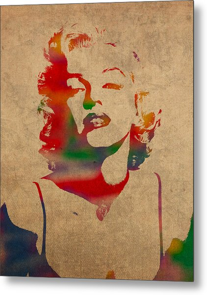Marilyn Monroe Watercolor Portrait On Worn Distressed Canvas Metal Print
