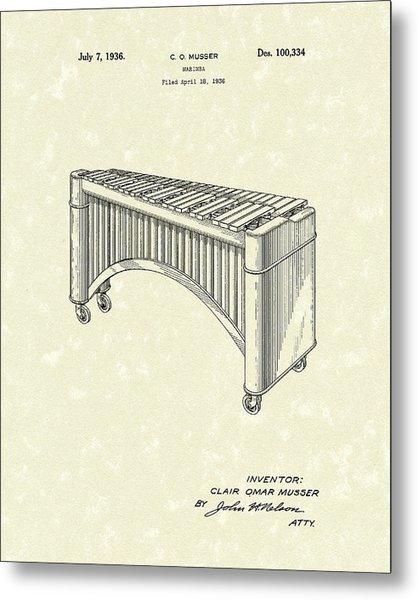 Marimba 1936 Patent Art Metal Print