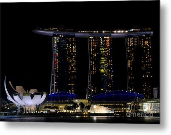 Marina Bay Sands Integrated Resort Hotel And Casino And Artscience Museum Singapore Marina Bay Metal Print