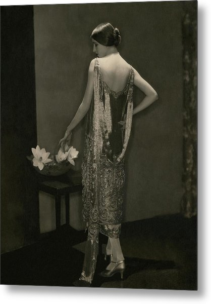 Marion Morehouse Wearing A Chanel Dress Metal Print by Edward Steichen