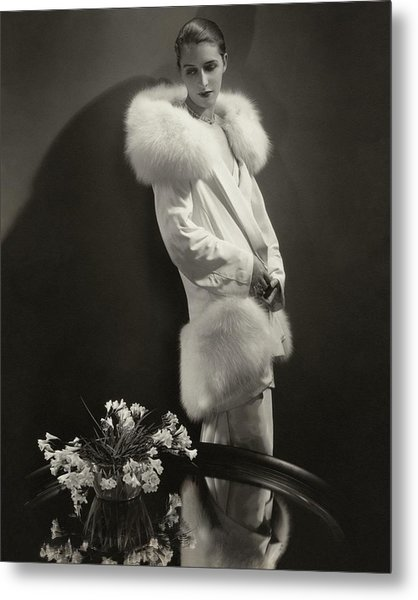 Marion Morehouse Wearing An Augustabernard Jacket Metal Print