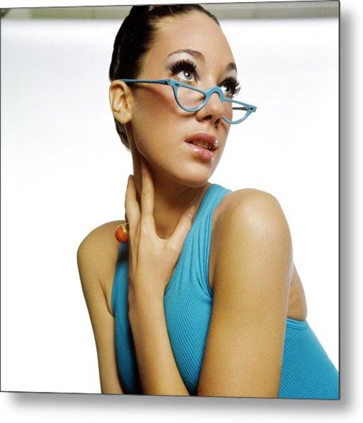 Marisa Berenson Wearing Blue Glasses Metal Print by Bert Stern