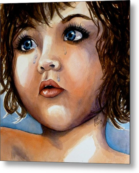 Crying Blue Eyes Metal Print