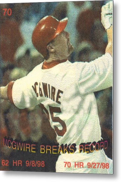 mark mcgwire breaking HR record Metal Print by Pat Mchale