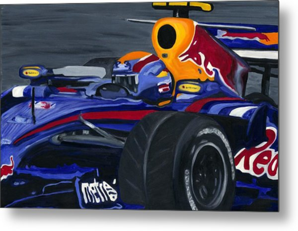 Mark Webber R B R Charging 2008  Metal Print