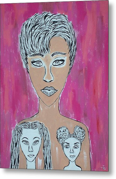Mother And Daughters Painting And Drawing Metal Print