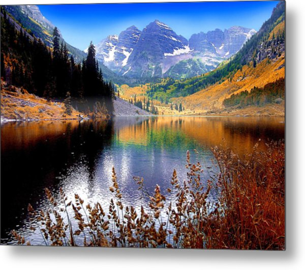 Maroon Bells At Maroon Lake Metal Print