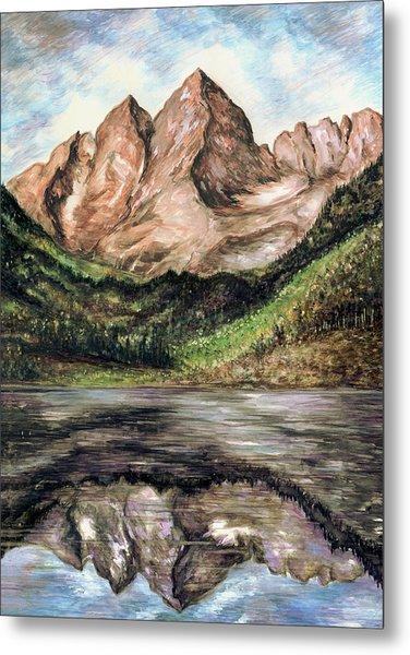 Maroon Bells Colorado - Landscape Painting Metal Print