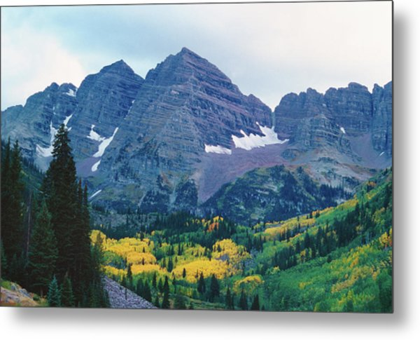 Maroon Bells In Fall Metal Print by Adventure photo