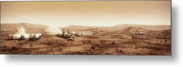 Metal Print featuring the digital art Mars Settlement Landscape With Farm by Bryan Versteeg